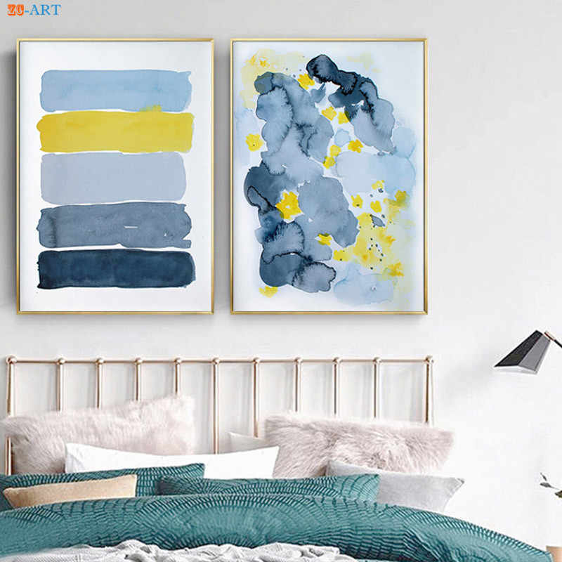 Abstract Blue Yellow Print Poster Canvas Painting Wall Art Wall Pictures for Living Room Home Decoration Contemporary Artwork