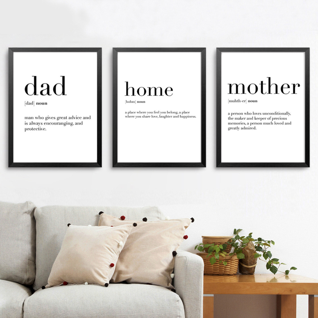 Minimalist Family Definition Quotes Canvas Painting Black And White