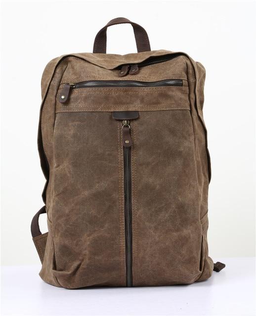 Nesitu High Quality Vintage Army Green Grey Coffee Yellow Canvas Women Men Backpacks 14'' Laptop Men's Travel Bags M5385
