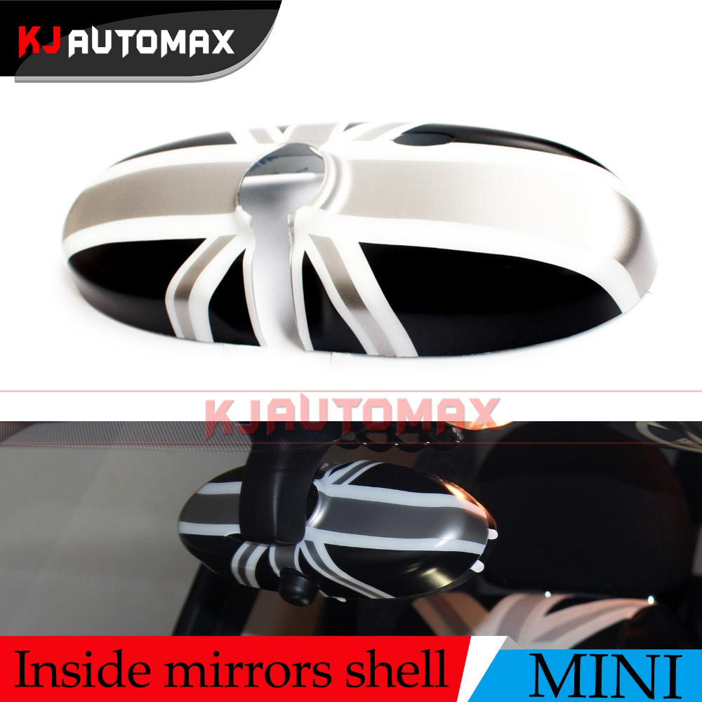 For Mini Cooper Grey Interior Rearview <font><b>Mirror</b></font> Cover Cap Shell Fit Countryman Clubman R55 R56 R57 R60 R61 accessories KJAUTOMAX