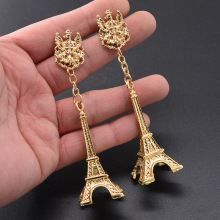 Korean fashion ring  retro big long Eiffel Tower personality drop earrings jewelry dangle baroque bohemian african