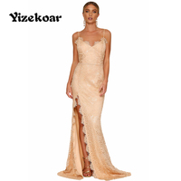 Yizekoar Dress Long Party 2017 Summer Sleeveless Elegant Dress Lace Women Nude Yum Lacy Lace Bridal