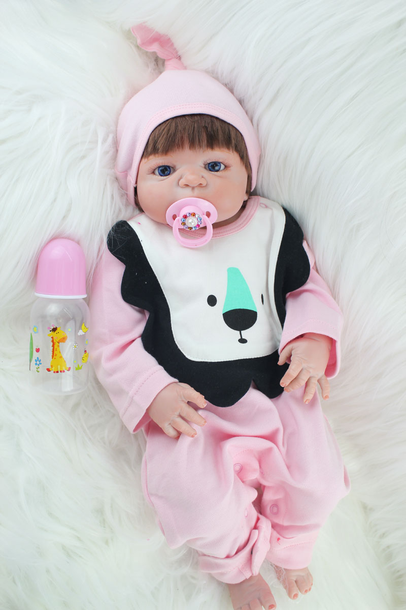 55cm Full Silicone Body Reborn Baby Girl Doll Toys Lifelike Princess Toddler Babies Dolls Bathe Toy Child Kids Birthday Present lifelike american 18 inches girl doll prices toy for children vinyl princess doll toys girl newest design