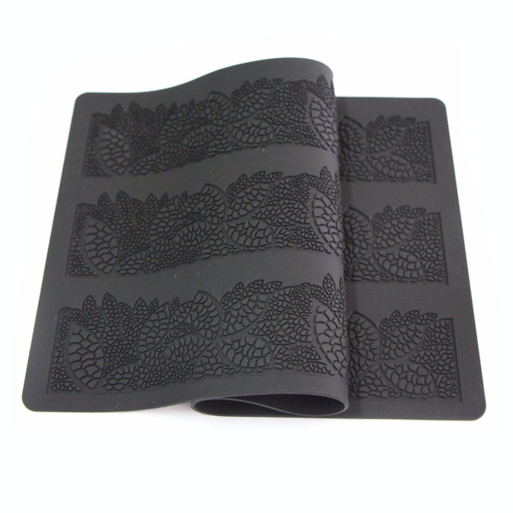 40 20cm Sugar Craft Baking Flower Pattern Silicone Mat