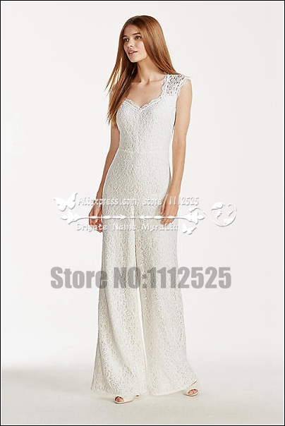 840a1401673 AWP 1036 Charming Elegant lace bridal jumpsuit Spring wedding dresses-in  Wedding Dresses from Weddings   Events on Aliexpress.com