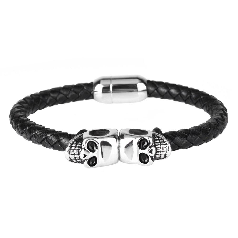 Kirykle mode Bracelet en cuir noir pour hommes bijoux Punk crâne en acier inoxydable perles Bracelet magnétique boucle breloque bijoux