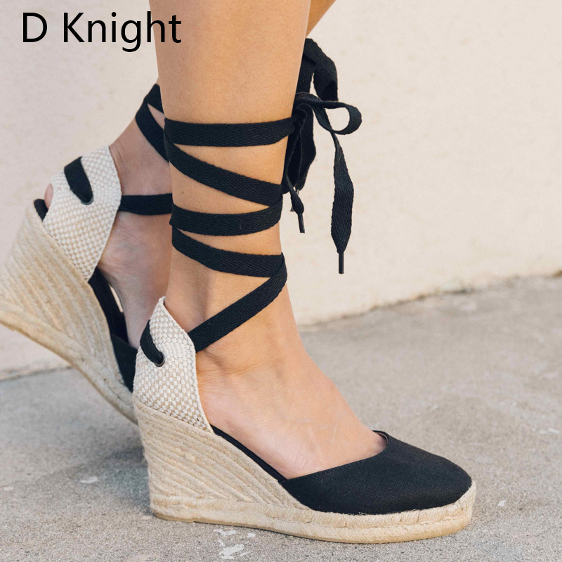 2018 Summer Ankle Strap Espadrilles Wedge Sandals Women Canvas Platform Sandals Fashion Lace up Summer Shoes Woman Plus Size 3-9 women flat wedge espadrille sandals lace tie up platform summer beach shoes lxx9