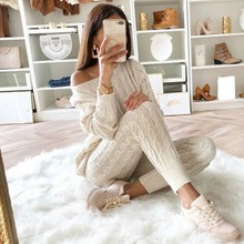 2 Piece Set Women Sweaters Suit Sexy Off Shoulder Sweater Pants Tracksuits Woman