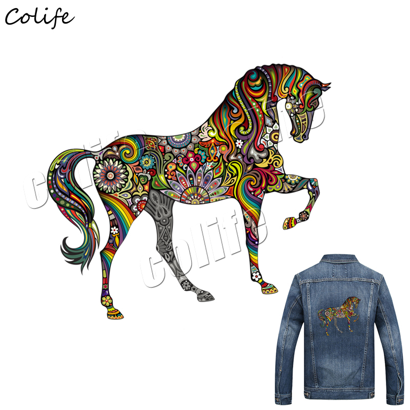 High Quality Patch Iron On Clothes Applique Stickers Families Decorative Bohemia Horse Heat Transfer Patches for T-shirt