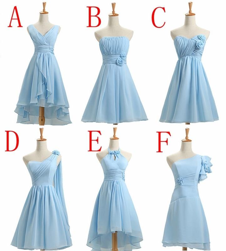 Knee Length Short Light Blue Bridesmaid Dress Customize