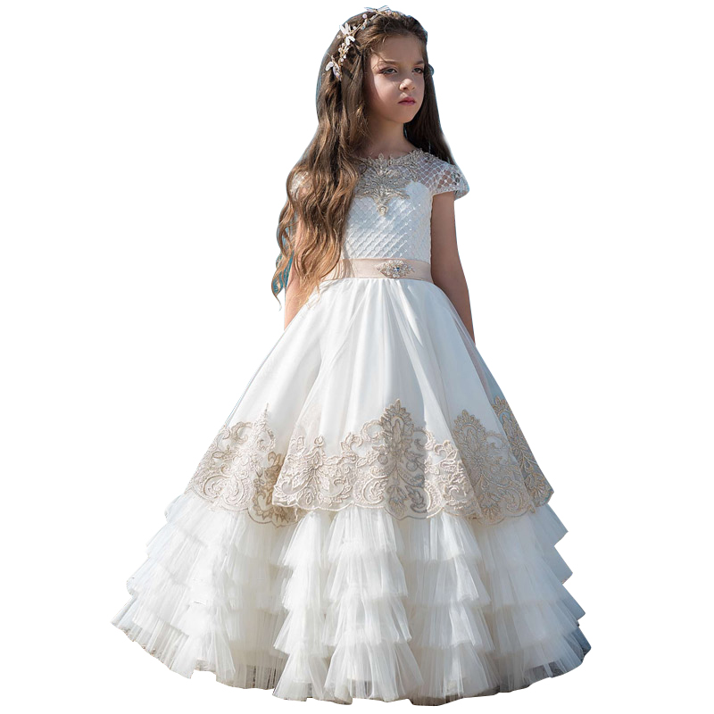 champagne flower girls dresses 2-12 year communion dress long kids ball gown deguisement enfant fille fancy little girls dresseschampagne flower girls dresses 2-12 year communion dress long kids ball gown deguisement enfant fille fancy little girls dresses