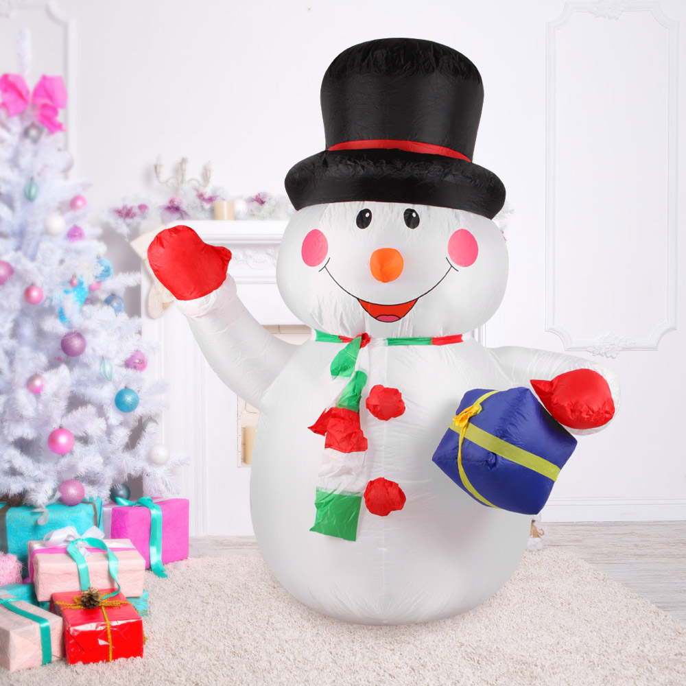 Big 1 8m Tall Inflatable Christmas Snowman Holding 2018 Christmas Decorations for home Outdoor Garden Decorations