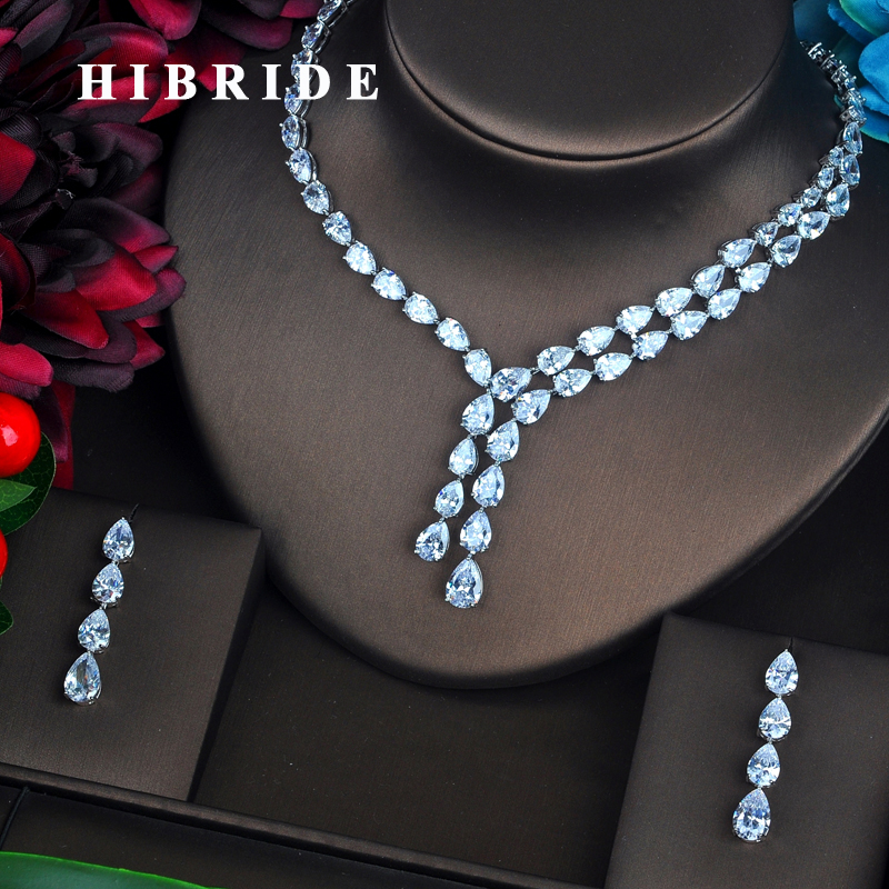 HIBRIDE Brilliant Clear Water Drop Full Cubic Zirconia Jewelry Sets For Women Bride Necklace Set Wedding