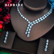 860b579d9800 Hibride brillante claro gota de agua zirconia cúbico completo Juegos de joyería  para las mujeres collar