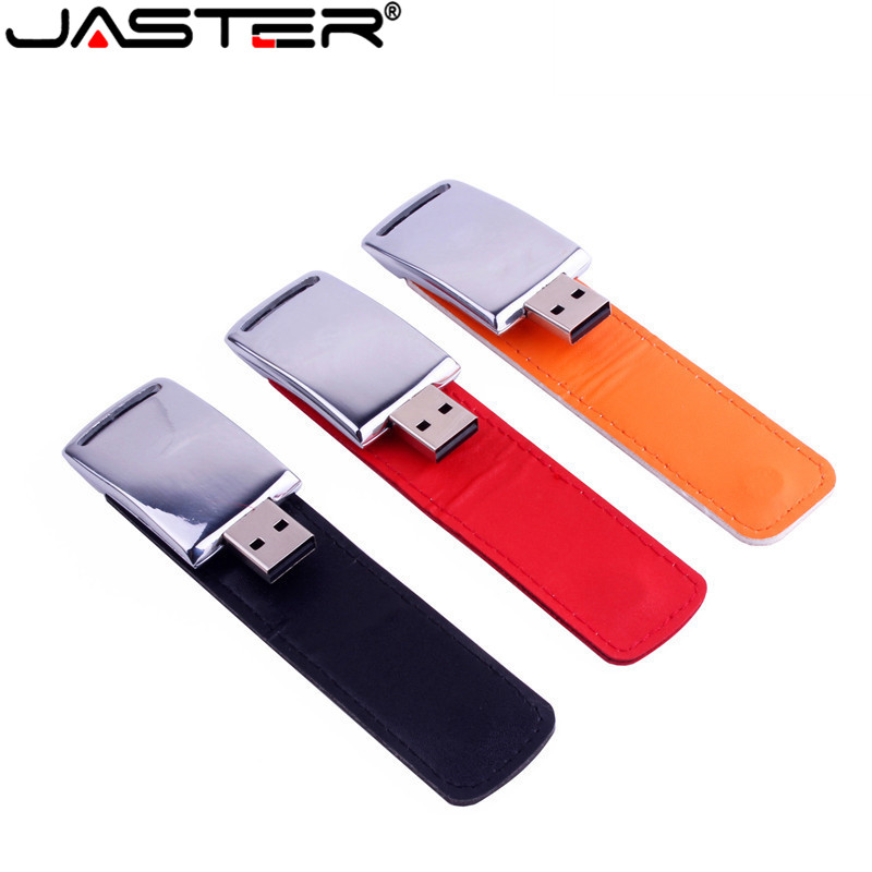 JASTER wholesale metal leather usb + gift box usb flash drive pendrive 4GB 8GB 16GB 32GB 64GB memory stick U disk free shipping