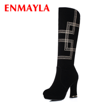 ENMAYLA Fashion High Heels Platform Gold Embroidered Shoes Woman Winter Knee Boots Black Faux Suede Black