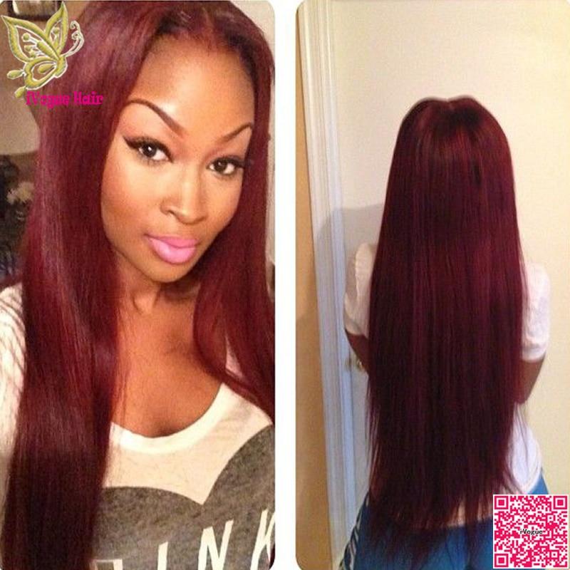 Virgin Brazilian Burgundy Lace Front Wig Human Hair Silky