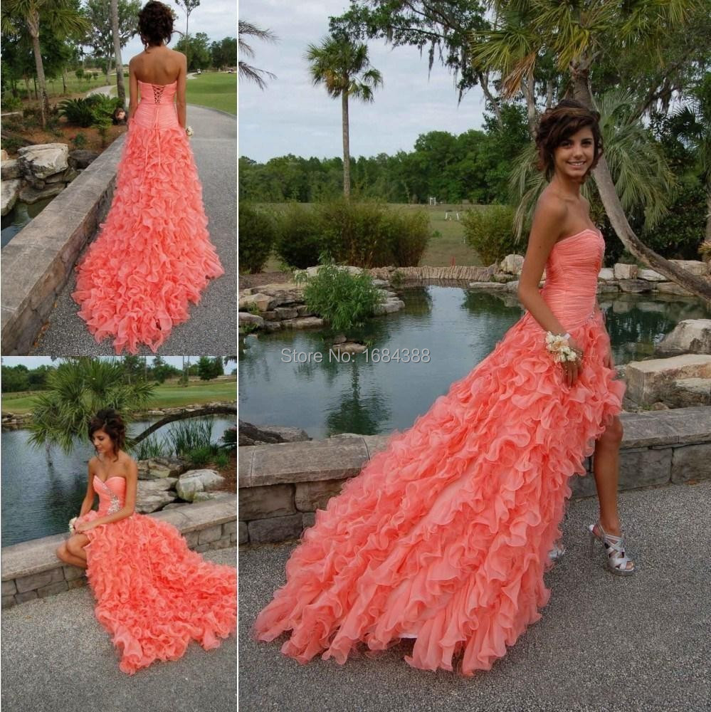 Popular Coral High Low Prom Dress-Buy Cheap Coral High Low Prom ...