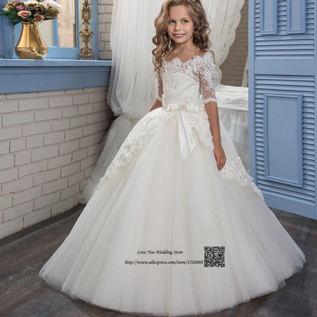 bbb6d026 Vestidos de primera Comunión para Niñas de Encaje Blanco de Flores Niña  Vestido de Graduación Vestidos