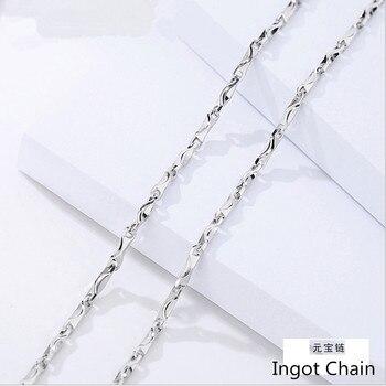 cdbe19e3f29c 925 cadenas de plata collares mujer joyería DIY colgante fino lingote  cadena no es fácil alergias