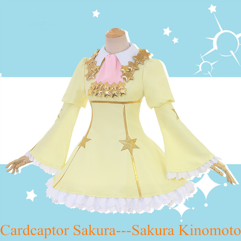 Anime! Cardcaptor Sakura Sakura Kinomoto Clear Card Doudantsutsuji Battle Suit Lolita Lovely Dress Uniform Cosplay Costume cardcaptor sakura kinomoto sakura clear card version 19cm anime model figure collection decoration toy gift