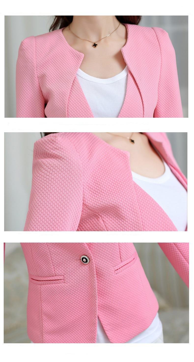 Wholesale Spring Women Slim Blazer Coat 2019 Plus Size Casual Jacket Long Sleeve One Button Suit Lady Blazers Work Wear TOP Y068 in Blazers from Women 39 s Clothing