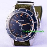 Debert 41mm Sapphire Glass Blue Dial Green Fabric Strap Miyota 821A Automatic Watch Blue Rotatable Ceramic Bezel