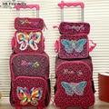 Nova mão de tricô borboleta crianças conjunto saco de escola do trole do trole bagagem bagagem mochila crianças 3 pc um conjunto para meninos e meninas