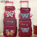 Nuevo tejido a mano de la mariposa niños bolso de escuela de la carretilla conjunto carro equipaje equipaje niños mochila 3 unid un juego para niños y niñas