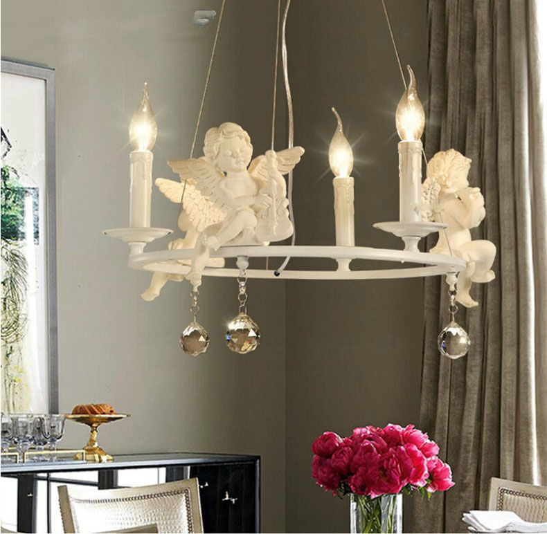 Modern Lamps lustre Lighting Led Pendant Creative Crystal Chandeliers With The Angel For Living Room Light modern led crystal chandelier lights living room bedroom lamps cristal lustre chandeliers lighting pendant hanging wpl222