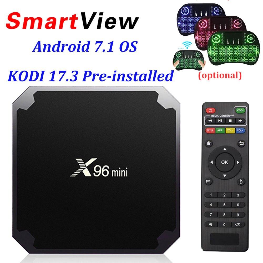 X96 mini Android 7.1 Smart TV BOX 2GB 16GB 1GB 8GB Amlogic S905W Quad Core support 4K 30tps 2.4GHz WiFi X96mini IPTV Set top box