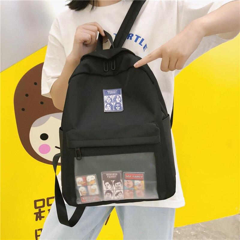 DCIMOR High quality waterproof nylon Women Backpack Female Transparent front pocket schoolbag for Teenage girls Travel Backpack