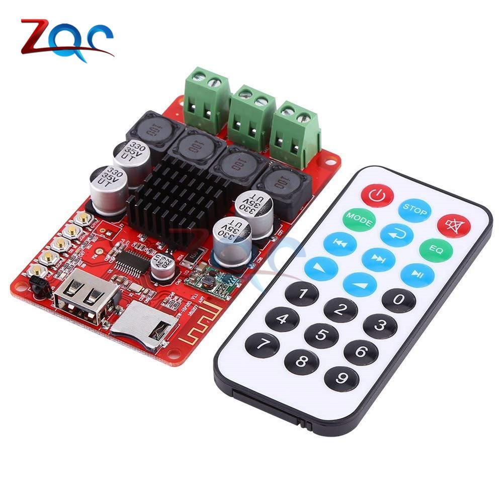 TPA3116 50W+50W Bluetooth Receiver Digital Audio Amplifier Board TF card U-disk Player FM Radio with Remote  Controller