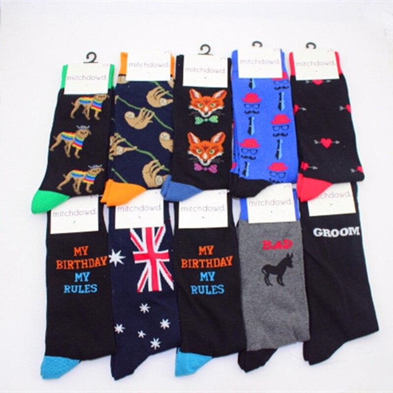 European style animal funny pattern socks personality fashion mens business sock Mustache English alphabet cotton novelty socks