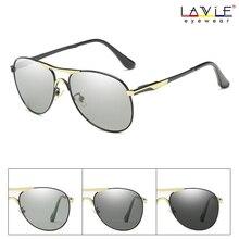 2019 new Polarized Photochromic Grey Sunglasses Men Pilot Driving Goggle Chameleon Change Color Glasses BS8722