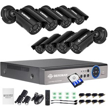 DEFEWAY 1080N HDMI DVR 1200TVL 720P HD Outdoor Home Security Camera System 8CH Video Surveillance DVR 2TB HDD AHD CCTV Kit  aokwe full 720p 8ch ahd dvr security camera system kit 1200tvl 8pcs 720p dome ir cctv camera indoor dome ahd dvr kit