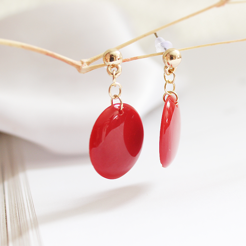 SANSUMMER 2019 New Style Fashionable Round Plastic Casual Earrings Pure Color Elegant Temperament Earrings Jewelry For Women in Stud Earrings from Jewelry Accessories