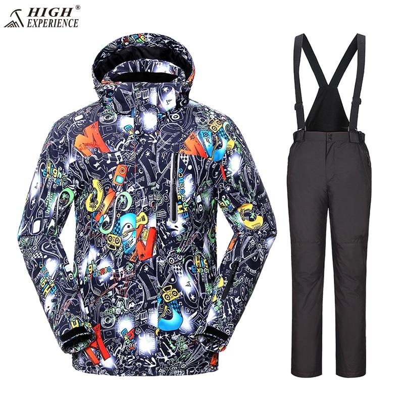 Il trasporto Libero di Alta Esperienza tuta da sci impiallacciatura ispessita cotone Caldo impermeabile giacca da snowboard + pantaloni da sci Vestiti invernali