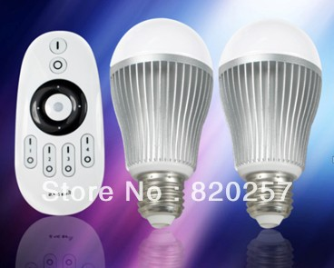 free shipping 6W E27 dimmable led bulbs set(two bulbs and one remote), can be iphone ipad controlled with wifi controller
