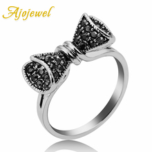Ajojewel Vintage Style Full Rhinestone Bowknot Ring Women Jewelry Black Band Cute Gift Bijoux