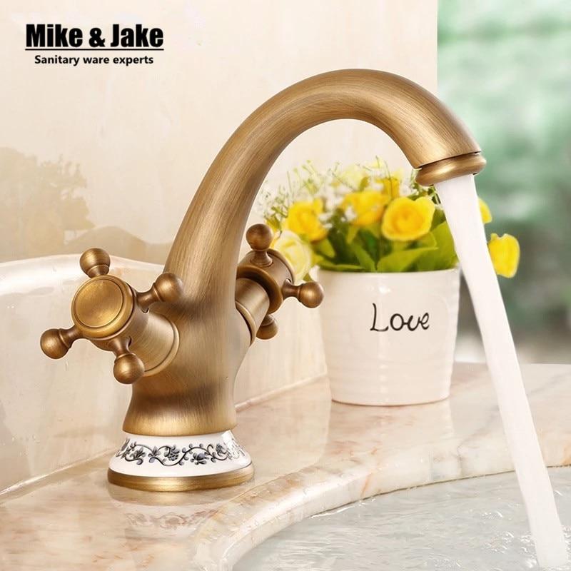 Soild laiton bronze double contrôle de la poignée antique en céramique bassin robinet grue cock salle de bains bassin mitigeur robinet antique robinet