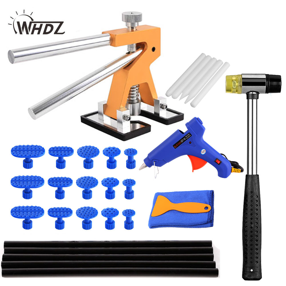 WHDZ pdr dent repair tools for car tool kit Paintless dent removal dent puller rubber hammer glue gun hand tool set adjustable pdr repair tools set tap down 9heads rubber hammer paintless dent tool multi function rubber hammer