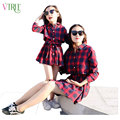 V-TREE trajes a juego de La Familia de madre e hija vestidos ropa de manga larga a cuadros ropa vestido a juego vestido de mirada