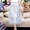 2016 moda saia de renda de três folhas de plátano flores saias e seções longas de verão nova cintura plissada saia véu de renda de Longo saias