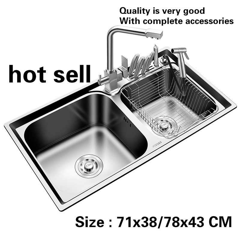 Free Shipping Household Fashion Kitchen Double Groove Sink Food Grade 304 Stainless Steel High Quality Hot Sell 71x38/78x43 CM