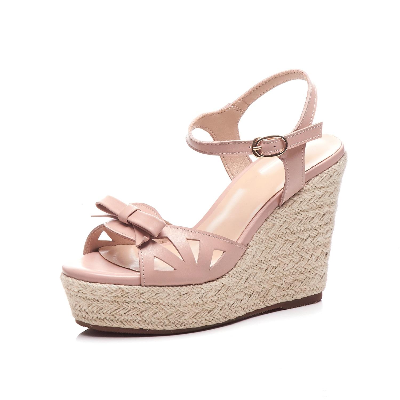 Vrouwelijke Sandalen Schoenen Wedge Platform koe Lederen Dames Sandalen Hoge Hakken Weave Strap Sandalen Voor Vrouwen Zomer-in Hoge Hakken van Schoenen op  Groep 2