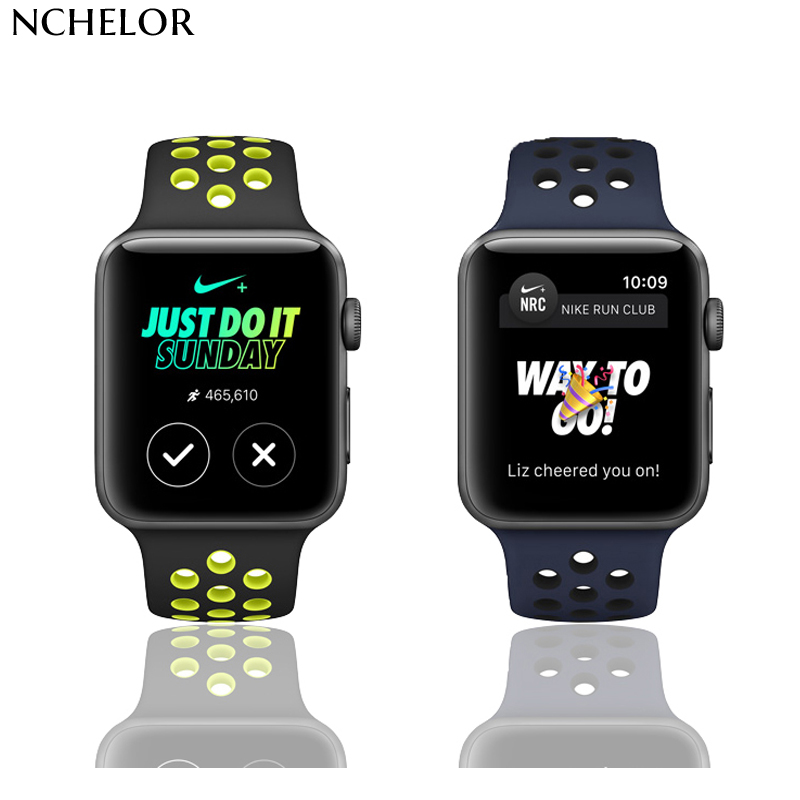 Watches Accessories For Apple watch band light weight Silicone Apple Watches straps fluoroelastomer with compression-molded