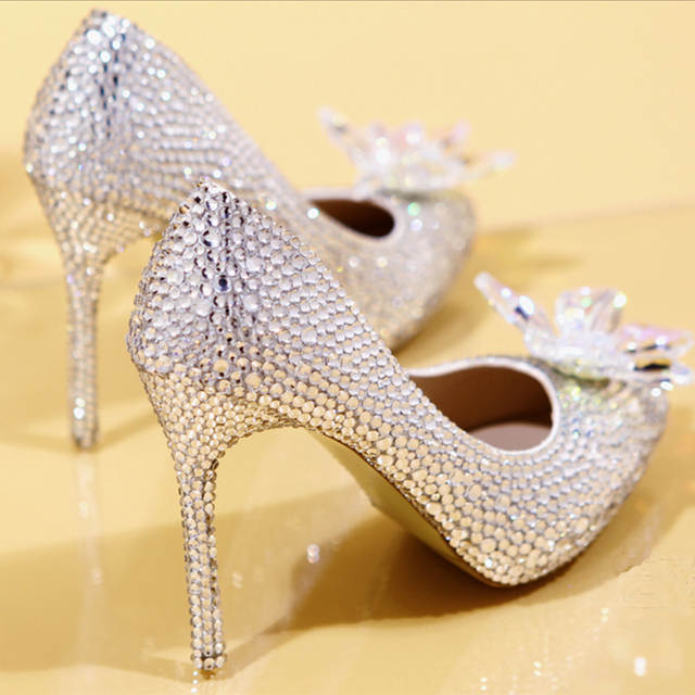 2018 New Rhinestone High Heels Cinderella Shoes Women Pumps Pointed toe Woman  Crystal Wedding Shoes high 5428932d8d17