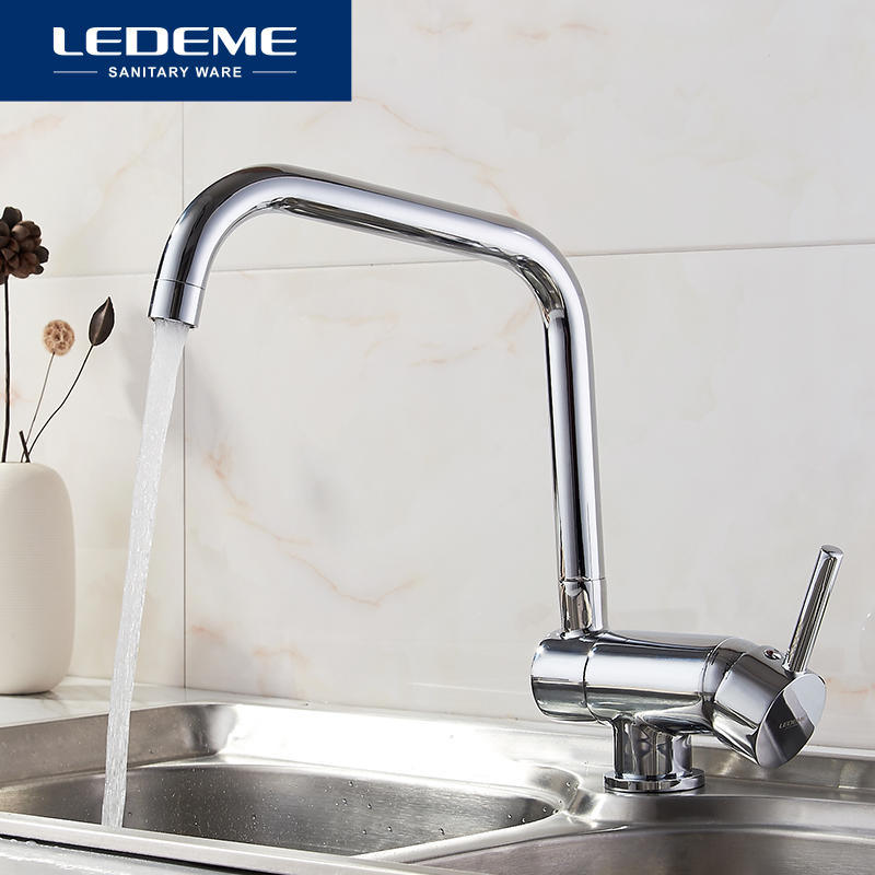 LEDEME Kitchen Faucet Deck Mounted Mixer Tap 360 Degree Rotation with Water Purification Features Mixer Tap Fashion New L4798
