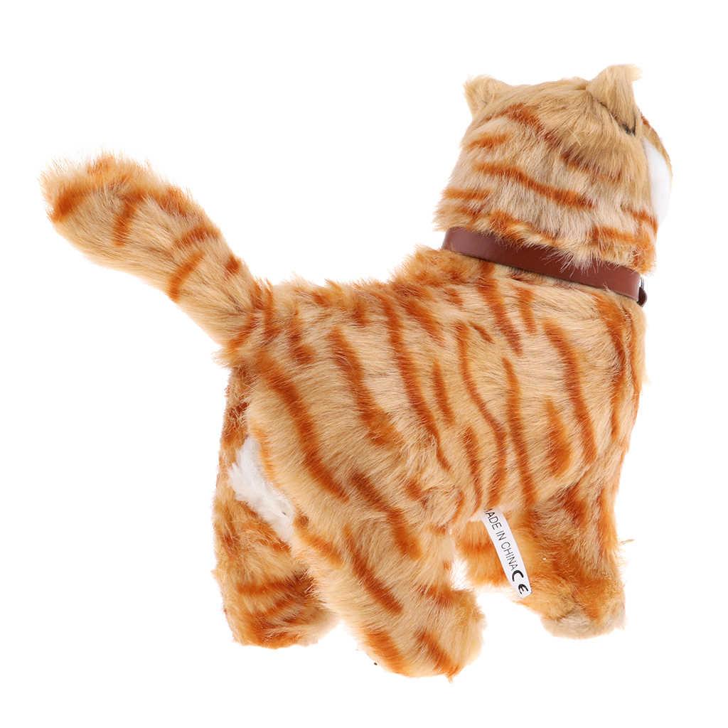 전자 봉제 고양이 장난감 박제 장난감 산책 고양이 야옹 장난감 어린이 동물 장난감 생일 선물 홈 오피스 장식